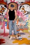 Graffiti urbani del cane dell'adolescente Fotografia Stock Libera da Diritti
