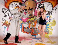 Graffiti urbani dell'agente investigativo Fotografia Stock Libera da Diritti