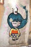 Graffiti urbani femminili moderni di arti della via, Cina Immagini Stock Libere da Diritti