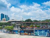 Graffiti urbani lungo il fiume di Klang, Malesia Immagini Stock Libere da Diritti