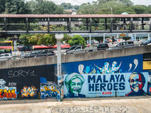 Graffiti urbani lungo il fiume di Klang, Malesia Fotografie Stock Libere da Diritti