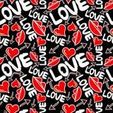 Graffiti Valentine Day auf einem Hintergrund-Beschaffenheitsschmutz des schwarzen Hintergrundes nahtlosen Stockfoto