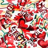Graffiti Valentine Day op een zwarte achtergrond naadloze textuur als achtergrond grunge Royalty-vrije Stock Foto