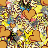 Graffiti Valentine Day seamless background grunge texture. Vector eps 10 vector illustration