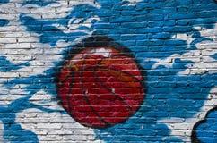 Graffiti van een basketbal op de muur royalty-vrije stock afbeeldingen