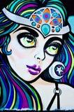 Graffiti van een Hallucinogene Oosterse Schoonheid Royalty-vrije Stock Afbeelding