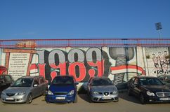 Graffiti van FC-Vojvodina ventilators Novi Sad, Servië royalty-vrije stock afbeelding