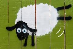 Graffiti van het springen schapen royalty-vrije stock fotografie