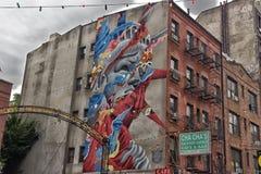 Graffiti van het Standbeeld van Vrijheid in Weinig Italië in New York royalty-vrije stock fotografie