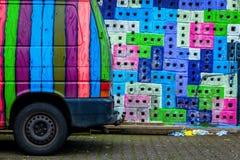 Graffiti Van. Van parked next to a graffiti wall in Reykjavik, Iceland Royalty Free Stock Photo