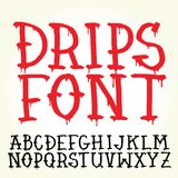 Graffiti vector font with paint drips Stock Photos