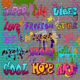 Graffiti vector graffito of brushstroke lettering or graphic grunge typography illustration set of street text with love. Freedom isolated on brick wall Stock Photo