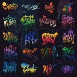 Graffiti vector graffito of brushstroke lettering or graphic grunge typography illustration set of street text with love. Freedom isolated on brick wall vector illustration