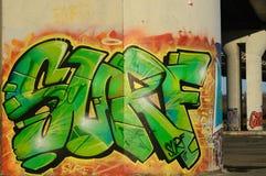graffiti Verde-arancio sotto il ponte Fotografia Stock Libera da Diritti