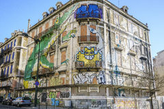Graffiti wall in Lisbon, Portugal Stock Images