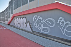 Graffiti. This is a view of wall with graffiti. April 9, 2015. Lublin, Poland Stock Image