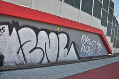 Graffiti. This is a view of wall with graffiti. April 9, 2015. Lublin, Poland Royalty Free Stock Photo