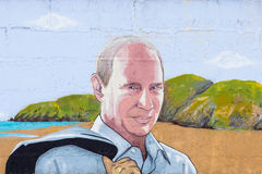 Graffiti Vladimir Putin. RUSSIA, CRIMEA, SUDAK, SUNNY VALLEY - MARCH, 03 2017: Graffiti on which the president of Russia Putin. In the background is the royalty free stock photography