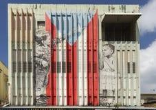 Graffiti von den Kindern, welche die Puerto- Ricoflagge verfassen Lizenzfreies Stockfoto