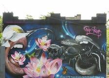 Graffiti wąż, ptaki, czaszki, usta, lotosy, motyl i mo, Zdjęcie Royalty Free