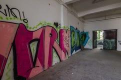 Graffiti w fabryce fotografia stock