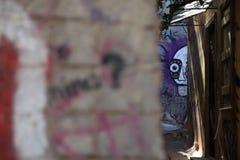 Graffiti w małej ulicie w Plaka, Ateny obraz royalty free