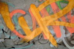 Graffiti wall. Concrete wall with graffiti in different colours royalty free stock image