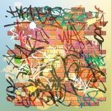 Graffiti Wall. A Brick Wall with lots of Graffiti Royalty Free Stock Image