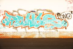Graffiti on the wall. Urban graffiti letters on the wall Royalty Free Stock Images