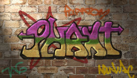 Graffiti wall. All of the graffiti and lighting was added in photoshop Royalty Free Stock Photography