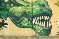 Graffiti wall. Graffiti on the wall. Dragon Royalty Free Stock Photos