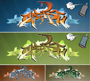 Graffiti wall. Artistic vector illustration of graffiti wall. Four variations vector illustration