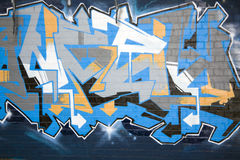 Graffiti on a wall, abstract. Colorful Blue Graffiti on a wall in the city of Johannesburg, South Africa Royalty Free Stock Photo