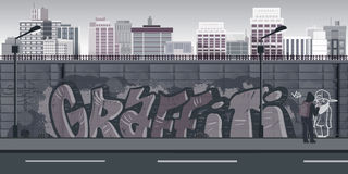 Graffiti wall background, urban art. Illustration for your design Stock Photography