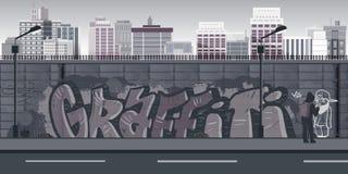 Graffiti wall background, urban art Stock Photography