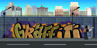 Graffiti wall background, urban art. Vector nature background for games.Vector Illustration for your application , project Stock Photography