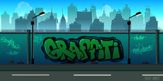 Graffiti wall background, urban art. Vector unending background with separated layers for game Stock Photo