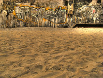 Graffiti wall in the beach. HDR image stock image