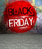 Graffiti wall with Black friday, urban art Royalty Free Stock Photography