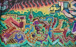 Graffiti wall color leters bricks psychedelic stock images