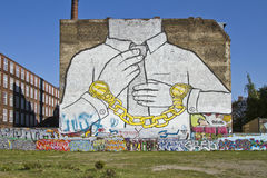 Graffiti wall Cuvry street Kreuzberg Stock Photos