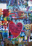 Graffiti wall with heart Royalty Free Stock Image