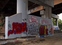 Graffiti on Wall Highway Underpass in San Francisco Stock Photos