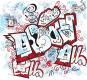 Graffiti wall. Wall inscribed with graphic symbols and drawings Royalty Free Stock Images