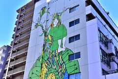 Graffiti on the wall in Japan royalty free stock images