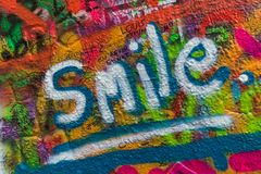 Graffiti on the wall of John Lennon in Prague - Czech Republic Stock Photography