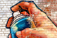 Graffiti. On a wall with many colours Royalty Free Stock Photography