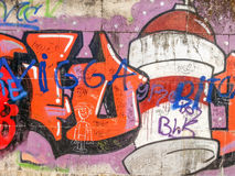Graffiti on a wall with many colours,abstract urban culture Royalty Free Stock Photography