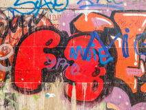 Graffiti on a wall with many colours,abstract urban culture Royalty Free Stock Photo
