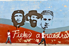 Graffiti and wall paintings representing the Cuban national heroes, in Havana stock photo